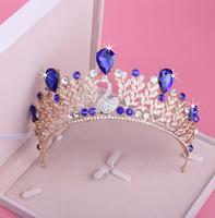 ingrosso blu corona tiaras-Shinning Princess Champagne / Cristalli blu Diademi nuziali Corone Copricapo da sposa Accessori nuziali Diademi nuziali / Corone T303562