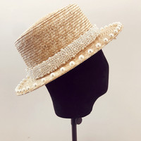Wholesale handmade straw hats resale online - 01906 xintao pearl summer handmade straw lady fedoras cap women panama jazz hat