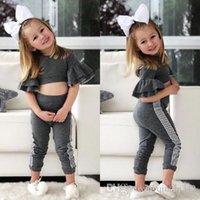 bebek kız düşer toptan satış-2019 İlkbahar / Sonbahar Güz Çocuklar Bebek Kız tasarımcı Slim Fit Pantolon Tayt Kıyafetler Set Giysileri Tops