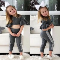 Wholesale kids clothing leggings baby resale online - 2019 Spring Autumn Fall Kids Baby Girls designer Slim Fit Tops Pants Leggings Outfits Set Clothes