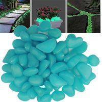 ingrosso pietre di incandescenza libere-Trasporto libero 1 kg ciottoli luminosi pietra fotoluminescente per il giardino pavimenta la decorazione del serbatoio di pesce 10 colori luce notte bagliore pietre