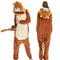 lustiger schlafanzug großhandel-Lustiger Clown antic Lion Onesies Unisex Flanell Phantasie Pyjamas Cosplay Kostüme Outfit Nachtwäsche für Erwachsene Willkommen Großhandel Auftrag