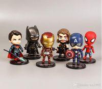 handpuppe machen großhandel-2019 New 6 Anime handgefertigten Spielzeug Avengers Puppe Iron Man Spider-Man Captain America Ornamente Kinderspielzeug Geschenke