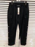 fita de zíper venda por atacado-New Pop Fog primavera outono estilo Lado Zipper fivela Calças de Medo de deus 6TH fita cordão emenda calças Casual Corredores Sweatpants S-XL