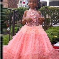 knöchellänge kleidet formals für mädchen großhandel-Afrikanische Halfter Blumenmädchenkleider Applikationen Perlen Stufenröcke knöchellangen Erstkommunion Kleid rückenfreie Kinder Abendgarderobe