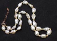 keshi perlas collar blanco al por mayor-Perla de agua dulce renace keshi blanco collar barroco por mayor naturaleza 18