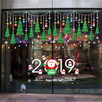 etiqueta de vidrio de la puerta al por mayor-Árbol de navidad decoración de la ventana escaparate etiqueta de la puerta de vidrio XH6255