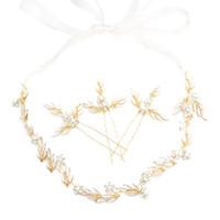 diademas nupcial pelo largo al por mayor-Boda nupcial oro hoja de metal trenzado perla horquillas pinza de pelo flor diadema larga Hairband accesorios para el cabello joyería de la novia