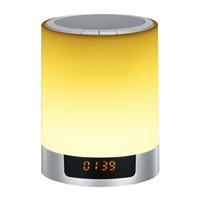 relógio de mudança de cor led venda por atacado-Altifalante portátil Bluetooth Speaker mudança de cor despertador de cabeceira Subwoofer estéreo sem fio de luz LED Handsfree Fashion Music Player