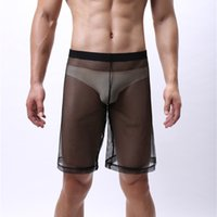 Wholesale man lingerie club resale online - Men Summer Knee Length Pants Performance Fetish Mesh Clothing Sexy Lingerie Breathable Relaxed Lace Tights Club Male Hole Trousers