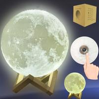 control remoto inalámbrico al por mayor-NL005 3D LED Night Magical LED luz de la luna lámpara de escritorio USB recargable 3D colores de luz Stepless para la decoración del hogar luces de Navidad