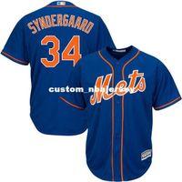 jerseygaard mayo toptan satış-Toptan Özel Yeni Syndergaard Royal Home Base Beyzbol Jersey Dikişli Retro Erkek Formalar özelleştirmek Soğuk