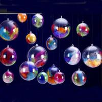 bolas de plástico transparente árvore de natal venda por atacado-8 cm Transparente Pendurado Bola de Natal openableÁrvore de Natal Enfeite de Plástico Ornamento da árvore de Natal Bolas claras