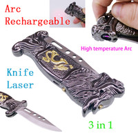 cuchillos laser al por mayor-3 in1 eléctrico recargable Lighter Arc sin llama USB a prueba de viento Lighter + knife + láser herramienta portátil fashinable creativa