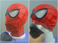 Wholesale red spiderman masks for sale - Group buy Spider Man Silicone Face Shape Mask Cover Month Masks Faceshell Spiderman Cosplay halloween Props Face Shell
