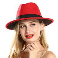 006fe77b7fcec4 Mode Polyester Baumwolle Rot Schwarz Breiter Krempe Fedora Hüte für  Festival Frauen Damen Wollfilz Jazz Trilby Panama Karneval Hut