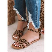 sandalias de leopardo de las mujeres al por mayor-Sandalias planas de moda para mujer Zapatos de mujer Sandalias de gladiador Zapatos Leopardo Serpiente Imprimir Chanclas Damas Calzado Diapositivas P25