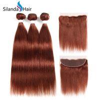ingrosso trame dei capelli in vendita-Silanda Hair Pure # 33 Lisci Brasiliani Remy Trame di capelli umani 3 Fasci di tessitura con frontale in pizzo 13X4 In vendita Spedizione gratuita