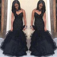Wholesale sequin arabic dresses resale online - 2019 Arabic Black Prom Dresses Spaghetti Crystal Beading Mermaid Ruffles Floor Length Formal Evening Party Gowns Vestidos Customized
