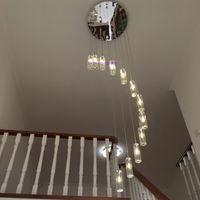 lâmpada de luz espiral venda por atacado-Candelabro levou moderna sala de estar lâmpadas lustre de cristal lâmpada led iluminação da escada longa espiral de cristal lustres de luz em casa ZG8070