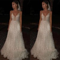 Wholesale sexy outdoor wedding dresses for sale - Group buy Sparkly Sequins Lace Beach Wedding Dresses Modest Sexy Spaghetti Backless Full length Outdoor Runway Holiday Bridal Wedding Gown