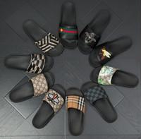 модные резиновые пляжные туфли оптовых-Тапочки для отдыха Дизайнерские резиновые сандалии Tiger Slide Пляжные дизайнерские тапочки Мужские сандалии LuxuFlops Slipperry Shoes Повседневная мода 38-46