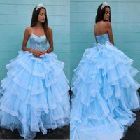 Wholesale princess dress nudes for sale - Group buy 2020 Tiered Sweep Train Tulle Puffy Princess Evening Dresses Sweetheart Beaded Lace Up Back Party Gowns Sweet Prom Dress