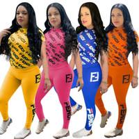 roupa laranja azul venda por atacado-Fandi Mulheres Designer de Fatos de Treino de Verão Moda Two Piece Outfits Carta FF Imprimir Manga Curta Top Longo Pant Set Amarelo Azul Laranja Rosa