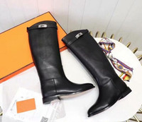 Wholesale h boots for sale - Group buy Brand New H Womens Knight Knee Motorcycle Square Heel Snow Winter Boots Martin Cow Leather Buckle Booties SZ35