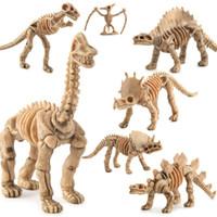 plastik iskelet kafatası toptan satış-Plastik Dinozor Modeli Fosil Dinozor Simülasyon Gerçekçi İskelet Dino Şekil 12 adet / takım Fosil kafatası Eğitici Oyuncak Koleksiyonu Dekor