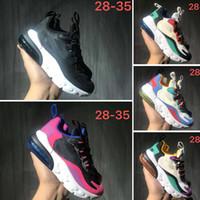 çocuklar beyaz spor ayakkabıları toptan satış-Nike Air Max 270 React Bauhaus Tepki Kadın Erkek çocuklar Koşu Ayakkabıları OPTIK HYPER JADE PEMBE GRI TURUNCU HUES Zirvesi Beyaz çocuklar Eğitmenler Spor Sneakers 24-35