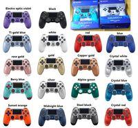 dhl jogos jogar grátis venda por atacado-Mais recente pacote de varejo 18 cores controladores PS4 controlador sem fio Bluetooth Controladores de jogo duplo choque PS4 Play Station DHL GRÁTIS