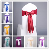 Wholesale covers for chairs for sale - Group buy 17 Colors Spandex Chair Sashes Free Lace up Elastic Chair Cover Chair Band With Silk Bow For Event Party Wedding Decoration Supplies