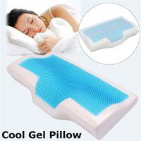 almohada de espuma de memoria de enfriamiento al por mayor-1 PC de espuma de memoria fresca del gel del verano de la almohadilla y enfriada con hielo anti-ronquido cuello ortopédico sueño amortiguador de la almohadilla + Pillowcover Para el hogar Ropa de cama