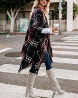 panço sargısı toptan satış-Kadın Yün Eşarp Hırka Patchwork Ekose Panço Pelerin Wrap Kış Sıcak Battaniye Pelerin Wrap Şal dış giyim Coat