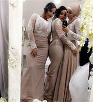 vestidos de dama de honor blancos musulmanes al por mayor-Setwell Vestidos de dama de honor de sirena Encaje blanco Mangas largas Vestido de invitado de boda árabe musulmán Vestido de ocasión especial por encargo