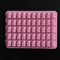 bandejas de molde de chocolate ursos venda por atacado-Prático Urso Gomoso Bonito 50 Cavidade Bandeja de Silicone Faça Doces de Chocolate Geléia de Gelo Molde DIY Ferramentas de Bolo Crianças Atacado D0026-1