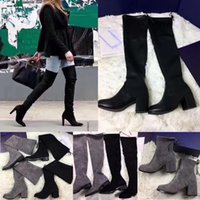 Wholesale black bootie heels shoes resale online - Women Tieland Over the knee Boots Vanland Strench Suede Long Short Bootie cm Heels Thigh High Boots Black Gray Pumps Shoes