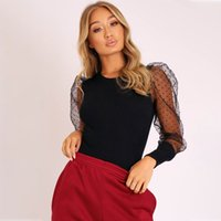 Wholesale polka dots jumpsuits for sale - Group buy New Lace Puff Sleeve Women s Bodysuit Autumn Long Sleeve Polka Dot Vintage Bodycon Jumpsuit Tops Skinny Mesh Bodysuits