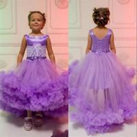 tutu tulle violet achat en gros de-Adorable Purple Girl Pageant Robes Cascading Tulle Tutu Volants Appliques Perles Ceinture Avec Lacets Dos Haut Faible Robe De Fille De Fleur