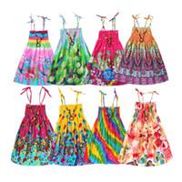 garota de praia 12 anos venda por atacado-Meninas verão boêmio princesa vestidos rainbow beach dress para teen girls roupas de linho com colar vintage presente 3 6 9 12 ano