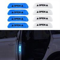 голубое небо углеродного волокна винил оптовых-4 шт. / Компл. Двери Автомобиля Стикер Наклейка Предупреждающая Лента Автомобилей Светоотражающие Наклейки Светоотражающие Полосы Автомобиля для укладки 4 Цвета Знак Безопасности Автомобиля Наклейки