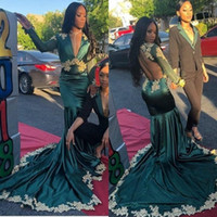 Wholesale open back plus size shirts resale online - Plus Size Mermaid Dark Green Prom Dresses K19 Long Sleeve Sexy Illusion Open Back Gold Applique Evening Gowns Formal Wears BC1620