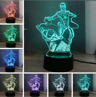 Wholesale iron man night light resale online - 2019 Marvel Series Figure Super Hero Flying Spider Man Iron Man Combination Dazzle Color Change LED Night Light Fans Kids Baby Toys Gifts
