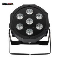 disko ışık efektleri toptan satış-SHEHDS LED 7x18W RGBWA + UV Par Işık DMX512 IN / OUT ve Güç IN OUT ile 6in1 Yıkama Efekti DJ disco için sahne ışık efekti