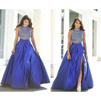 Wholesale royal blue beaded slit dress resale online - 2019 New Modest Two Pieces Prom Dresses Vestidos Arabic Royal Blue Long Beaded Top Backless Slit Side Sexy Party Dresses Evening Gowns