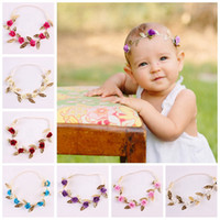 Wholesale cute infant hair headbands for sale - Group buy Gold Leaves Rose Flower Baby Headband Headdress Baby Infant Floral Hairband Girl Cute Hair Accessories Hairband for Newborn Kids RRA1947