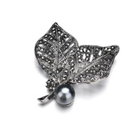 Wholesale gun brooches for sale - Group buy 2019 Jewelry Black Gun Plated Simulated Pearl Brooch Pins Vintage Rhinestones double Leaf Brooches for Women Gift b445