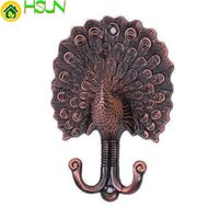 Wholesale decorative wall curtains online - Peacock Curtain Tie Backs Decorative Hooks Unique Coat Hangers Wall Hooks Antique Copper Bathroom Towel Hook