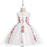 elegante weiße babykleider großhandel-MQATZ Baby Mädchen Stickerei Blume Schöne Prinzessin Mädchen Geburtstag Weißes Kleid Elegante Mädchen Abend Party Hochzeitskleid Elegante